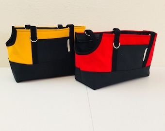 """Custom Dog Carrier Bag, 20 Colors of Cotton Canvas for Pet Carrier Totes in 6 Sizes for an X Small Puppy to an XX Large Dog up to 26"""" Long"""
