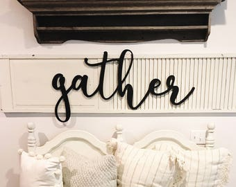 Gather Sign Wood Cut Out, Dining Room Decor, Gather Wood Sign, Farmhouse Decor, Home Decor, Cut Out, Word Cutouts, Family, Entry Way Sign.