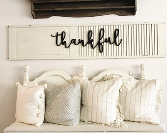 Thankful Sign Wood Cut Out, Thankful Wood Sign, Farmhouse Decor, Home Decor, Cut Out, Word Cutouts, Family, Entry Way Sign, Rustic Decor.
