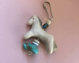 Angel -Gray and white pony zipper pull, turquoise bead, horse charm