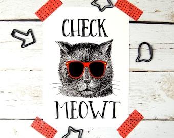Cat Print Postcard, Funny Cat Lover Card