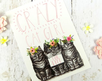 Cat Print Postcard, Cute Funny Cat Lover Stationary