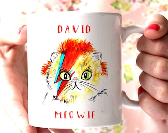 David Bowie  Cat Mug, Cute Funny Cat Lover David Bowie Gift