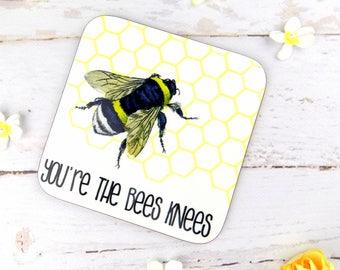 Bee Print Coaster, Beautiful Bee Art Print Coaster, Bee Print Gift