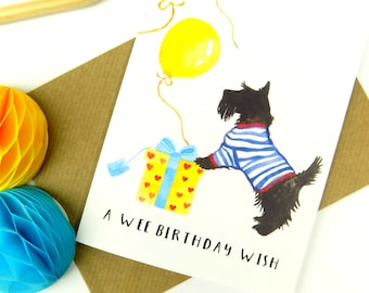 Dog Print Birthday Card, Scottish Terrier Card, Cute Scotty Dog Card