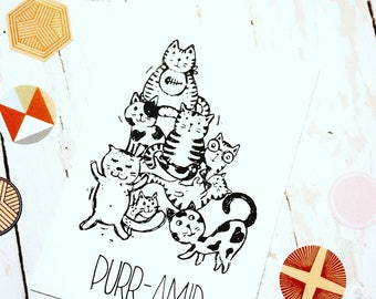 Funny Cat Postcard, Cute Cat Pun Stationary, Cat Lover Postcard
