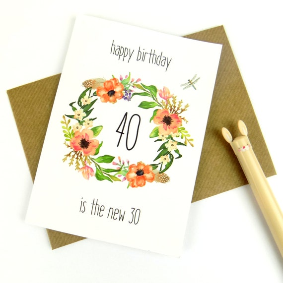 40th Birthday Card For Her Floral Print