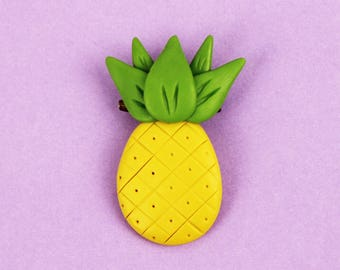 Pineapple brooch Funny brooch Fruit jewelry Pineapple lover gift Colorful brooch Fruit brooch Summer jewelry Yellow brooch Pineapple pin