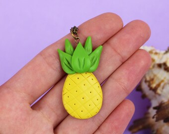 Pineapple pendant Yellow Fruit necklace Funny summer necklace Pineapple necklace Food pendant Fruit pendant Pineapple outfit Fruit jewelry