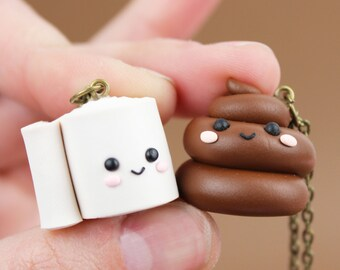 Best Friends necklace Kawaii poop pendant Matching bff necklaces Friendship gift Toilet Paper necklace Funny birthday gift Poo TP necklace