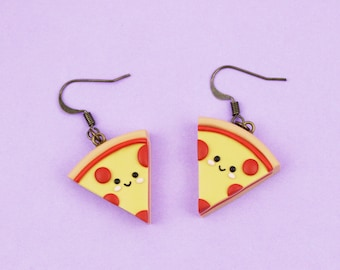 Miniature food earrings Gift for friend Pepperoni pizza earrings Pizza lover gift Funny dangles Kawaii pizza jewelry Pizza party outfit