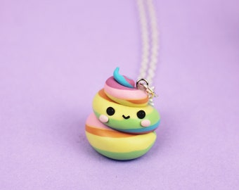 Rainbow unicorn poop necklace Funny princess jewelry Unicorn lover gift Best Friends necklace Birthday gift Pastel poo pendant BFF necklace