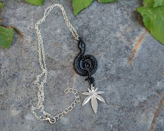 Black Snake and Cannabis Leaf Necklace.