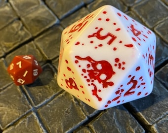 Oversize Bloody Spin down D20 dice for hit points Magic the Gathering, Gloomhaven, tabletop RPG DND, Dungeons and Dragons, dice, mtg