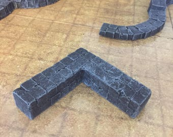 FOUR Corner wall piece, painted, D&D Pathfinder Dungeon Gaming Fantasy TableTop Terrain Miniature Roleplaying RPG