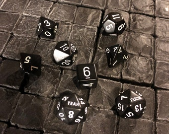 Set of F*uck Yeah dice - 8 dice total Dungeons and Dragons, Pathfinder  Dungeon Master, DM, RPG, D&D, custom dice