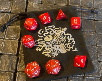 Halloween Special 2 Red - D20s Dice Set with a rare Agatha Witch Dice Bag- Dungeons and Dragons, Pathfinder  Dungeon Master, DM, RPG