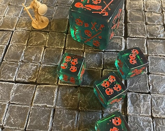 Set of 5 (five) Gelatinous Cube minis that are also DICE!, Dungeons and Dragons, Pathfinder  Dungeon Master, DM, RPG