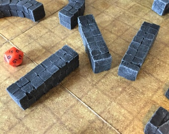 FOUR Straight wall piece, unpainted, D&D Pathfinder Dungeon Gaming Fantasy TableTop Terrain Miniature Roleplaying RPG