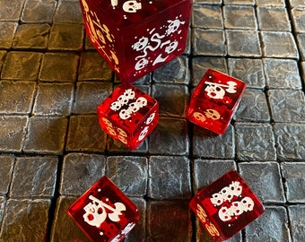 Set of 5 (five) Red Gelatinous Cube minis that are also DICE! Dungeons and Dragons, Pathfinder  Dungeon Master, DM, RPG