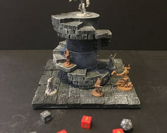 THE SPIRE Spiral Stairs with Base, painted, D&D Pathfinder Dungeon Gaming Fantasy TableTop Terrain Miniature Roleplaying RPG