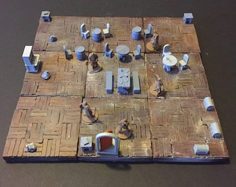 Modular Tavern, painted, D&D Pathfinder Dungeon Gaming Fantasy TableTop Terrain Miniature Roleplaying RPG