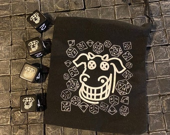Dead Milkmen Dice - four limited edition set with dice bag - DnD D&D Dungeons and Dragons RPG OSR Role playing Games