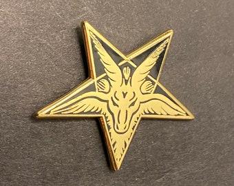 Pentagram - Satanic Goat Enamel Pin - Black Phillip - Dungeons and Dragons, Pathfinder, DM, OSR, DND, D&D