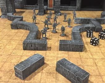 "EIGHT Straight 2"" wall piece, painted, D&D Pathfinder Dungeon Gaming Fantasy TableTop Terrain Miniature Roleplaying RPG"