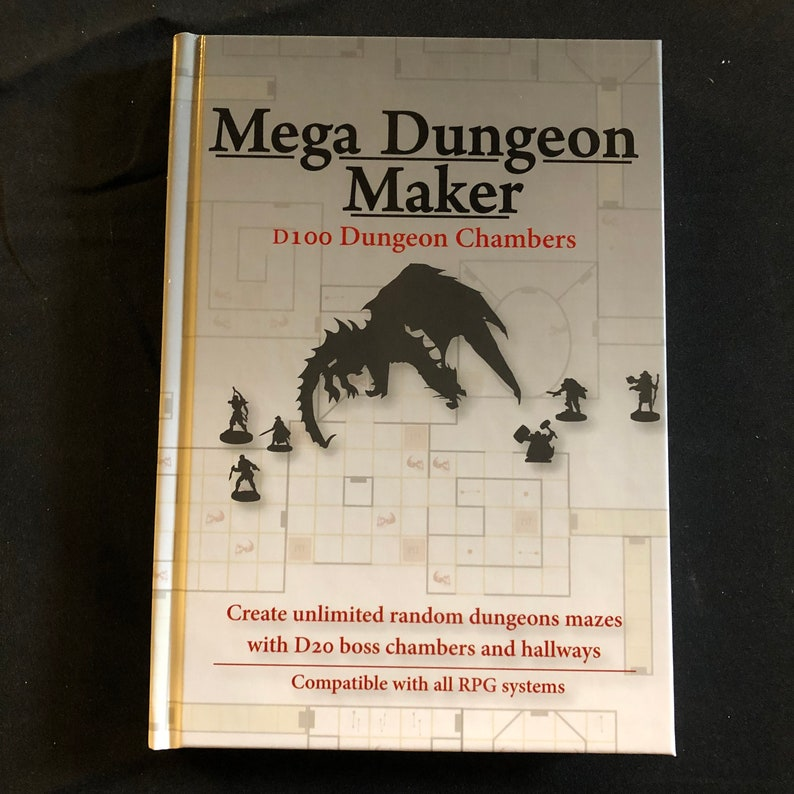 Mega Dungeon Maker +PDF - D100 Random Maze Generator for 5e + more  Hardcover Book, D&D, DnD, Dungeons and Dragons, Pathfinder, RPG