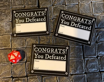 3 Congrats You Defeated! vinyl stickers - DnD, Dungeons and Dragons, Pathfinder, RPG, gaming, games