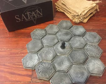 1 of 10 Settlers for Satan - Settlers of Catan alternate hex set with mini, box, bags, and hexes - board game