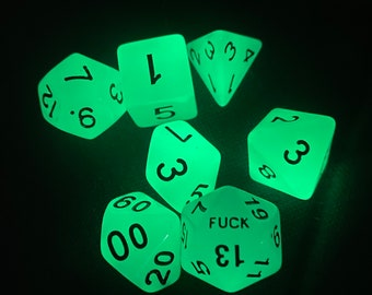 Seven Glow-in-the-dark F*uck Yeah 20 Sided Dice set - D20s - Dungeons and Dragons, Pathfinder  Dungeon Master, DM, RPG