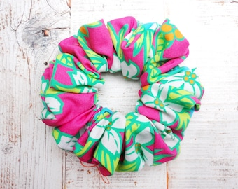 Cerise, Turquoise And Lime Green Floral Scrunchie, Summer Brights Scrunchies