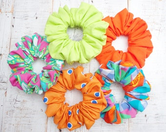 Pack Of Five Scrunchies In Summer Bright Colours