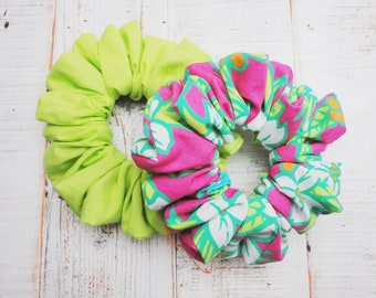 Pack Of Two Scrunchies Made From Vintage Fabric In Summer Bright Colours, Trending Scrunchies For This Summer