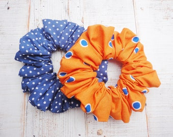 Pack Of Two Orange And Blue Spot Scrunchies, Summer Bright Scrunchies