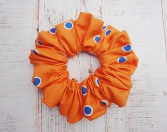 Orange Scrunchie With A Blue Spot, Summer Brights Scrunchie