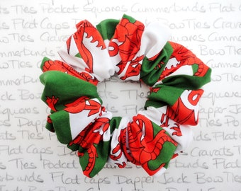 Gorgeous Welsh Flag Scrunchie, Red Dragon