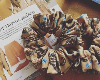 Scrunchies, Gorgeous Beige With Blue Roses Scrunchie