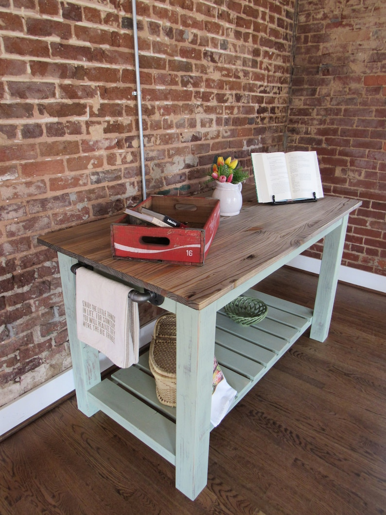 Farmhouse Kitchen Island Butcher Block Top W Iron Pipe Side Handle Distressed Wood Island Vintage Color Reclaimed Materials