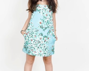 CANVAS DRESS light blue and  flowers