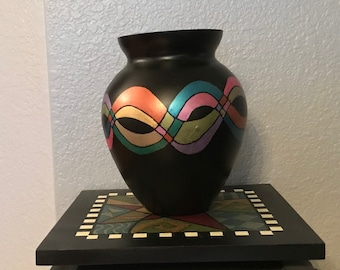 Handpainted Glass Vase - Abstract Design