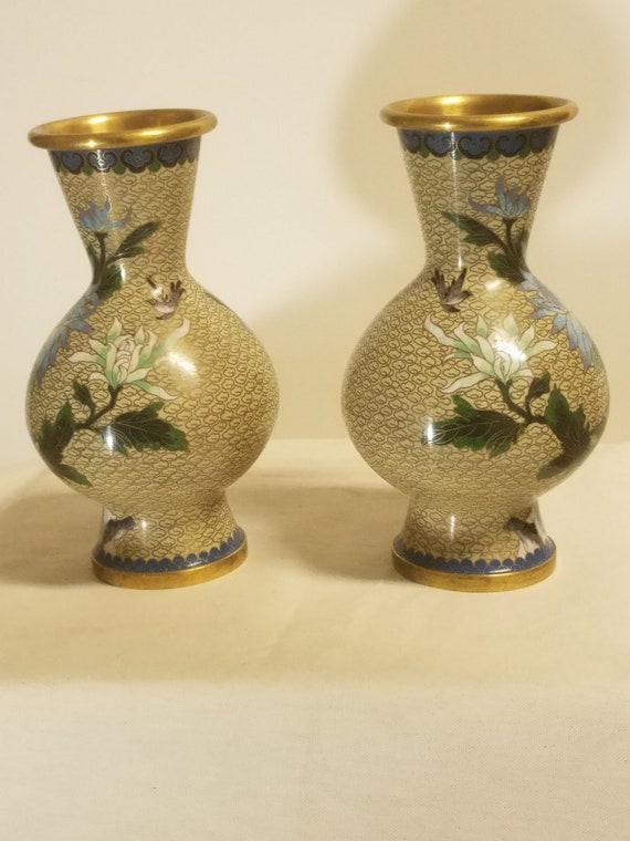 Pair Of Cloisonne Vase Vintage Chinese Etsy