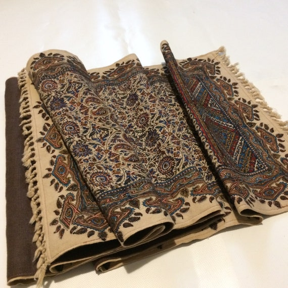 """Table runner 94"""" inches long, traditional hand block printed with linen lining , bohemian blue table runner, Tapestry paisley table runner"""