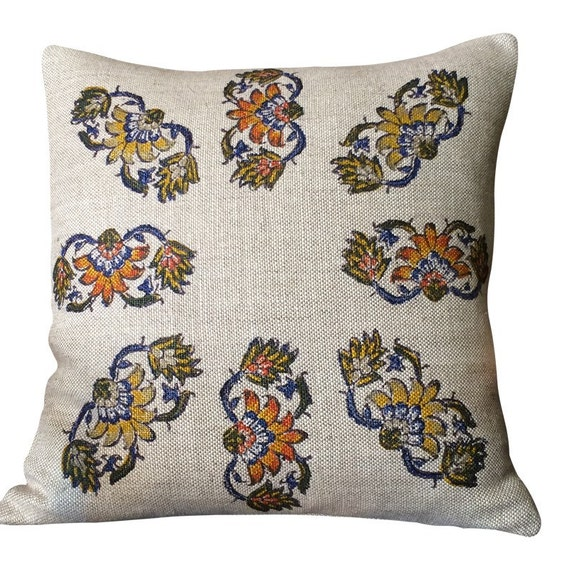 Linen Pillow, hand block printed Irish Linen, decorative Sofa Cushion , flowers pattern, Irish decor, cottage style