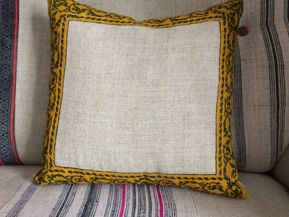 Decorative linen pillow cover,  traditional block printed borders design , sofa cushions, traditional living room pillow