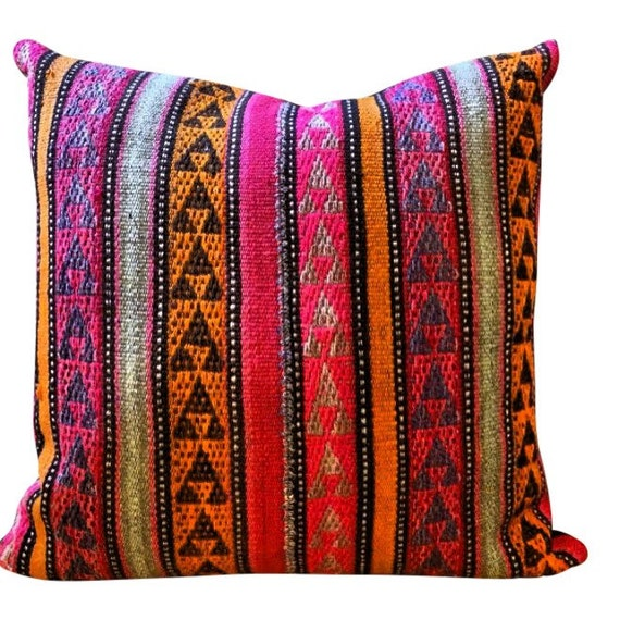 Vintage fabric wool pillow, Pink orange pillow Decorative Cushion Cover, Handmade floor kilim pillow cover, bohemian decor Christmas gifts
