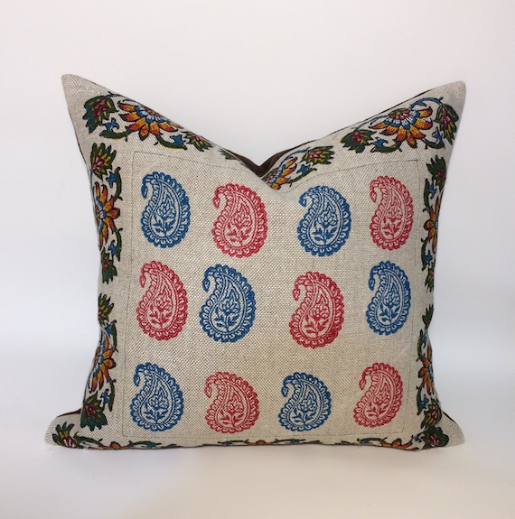 "Pink and blue paisley pillow, Irish linen pillow  with traditional block printed paisley design| decorative cushions| linen pillowcase 18""x1"