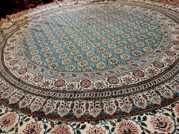 "Traditional 82"" inches round tablecloth, original block printed calico tapestry art with natural dyes , dining table decor"